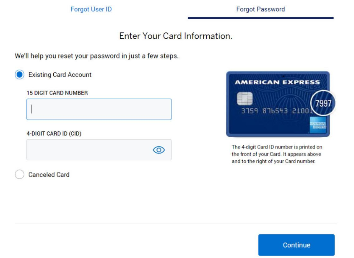 Reset Password in American Express