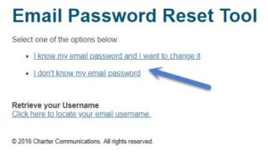 reset forgot email password