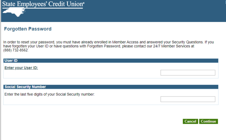 Process of resetting your SECU Password.