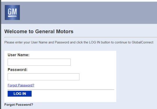 gm globalconnect login website