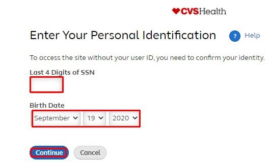 reset password or user ID